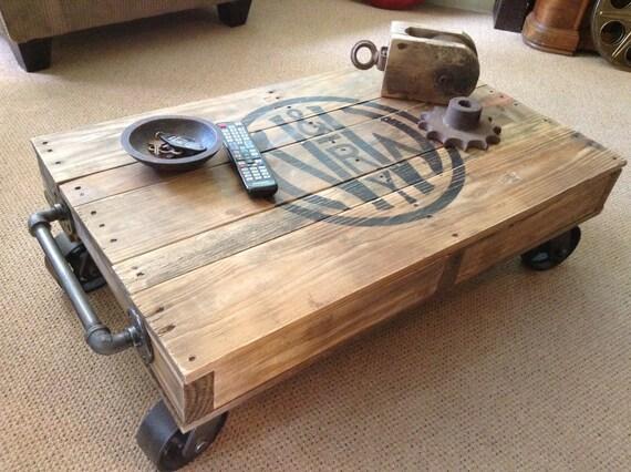 Industrial Railroad Coffee Table Cart