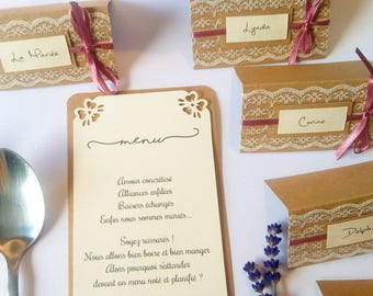 Place cards personalized kraft and lace and pink satin ribbon
