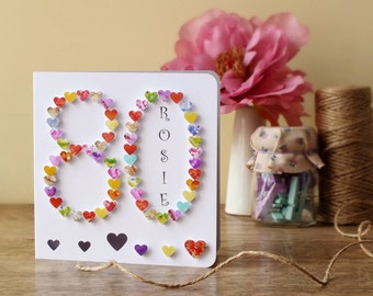 Birthday cards etsy 80th birthday card personalised age 80 card handmade 80th card mother bookmarktalkfo Image collections