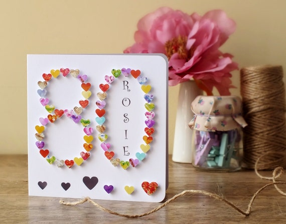 80th birthday card personalised age 80 card handmade like this item bookmarktalkfo Image collections