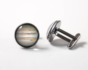 Jupiter cuff links Universe Birthday gift Space cufflinks Men accessory Jupiter jewellery Planet Jupiter Jupiter jewelry Planet cuff links
