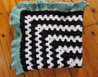 Baby Blanket, Baby Afghan, Granny Square Blanket, white, black, teal, boy, girl
