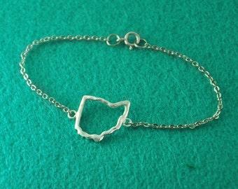 Ohio Map Bracelet,Custom Bracelet,Personalized Bracelet,Map pendant,custom jewelry,Ohio custom jewelry,Ohio Jewelry