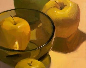 "Art painting still life by Sarah Sedwick ""Three Golden"" 8x8 oil on canvas"