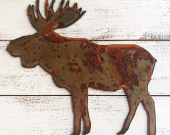 """Moose - 8"""" Rusty, Rustic Metal MOOSE - Predrilled - For Art, Sign, Decor - Make your own DIY Gift"""