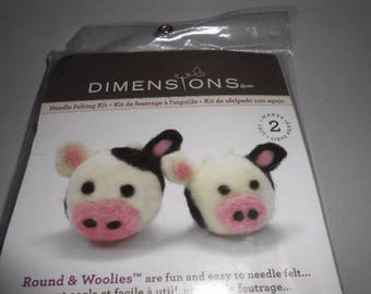 Dimensions Needle Felting Kit Round & Woolies Cows