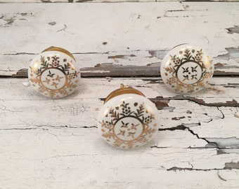 Decorative Gold & White Round Knob, Ceramic Knobs, Furniture Pulls For Cabinets or Drawers, Coastal Beach Inspired Knob, Item #511786227