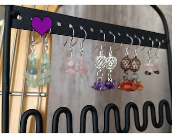 1.25 inch dangle drop earrings with green aventurine gemstones