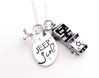 Jeep Girl Neckace - Sterling Silver - Jeep Jewelry - 4x4 Charm