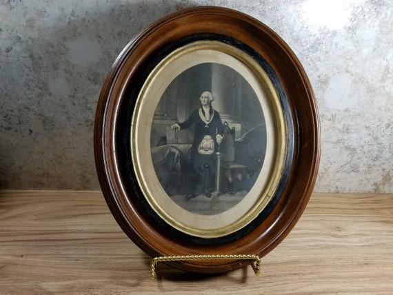 Antique Framed Oval Engraving George Washington As A Mason