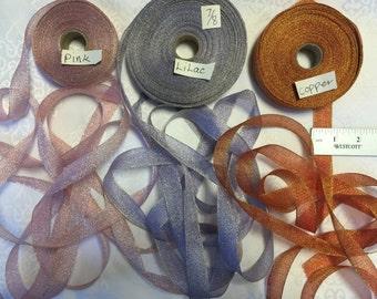 Vintage Metallic Organza Ribbons. Sold by 10 yards cut.  Shimmer Ribbons, Metallic Ribbons, Made in France.