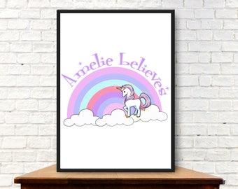 Personalised Unicorn Pastel Rainbow Digital Print