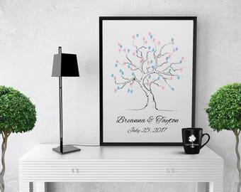 Guest Book for Weddings   Wedding Fingerprint Tree   Thumbprint Wedding Tree   Wedding Guest Book   Wedding guest book alternative