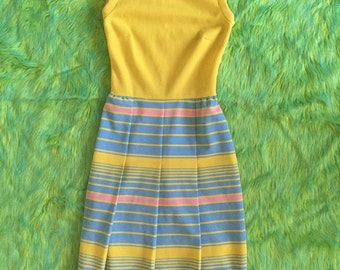 60s sleeveless pastel yellow and baby blue pleated striped dress