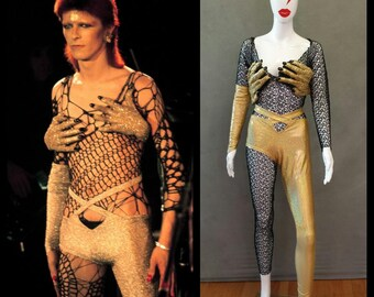 MADE TO ORDER Limited Edition David Bowie/ Ziggy Stardust Inspired Gold Monster Hands / One leg pant and Black Mesh Bodysuit Costume