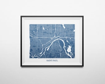 Saint Paul, Minnesota Abstract Street Map Print
