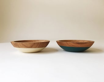 "6"" Cherry Snack Bowls, Color Dipped, solid hardwood bowls by Willful Goods"