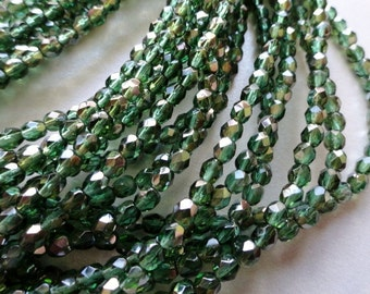 4mm Fire polished beads - Prairie Green - Czech Beads - Forrest Green Faceted Rounds - Bead Soup Beads
