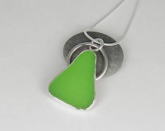 Lime Green Sea Glass Bezel Pendant Necklace Maine