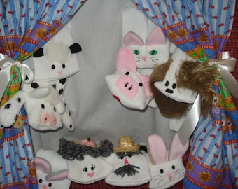 Deluxe complete  set Doorway Puppet Theater and 9 Sock Puppets; Farmer n Wife n 7 farm animals