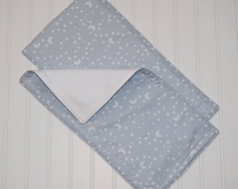 Stars and Moons (Blue) Burp Cloth Set