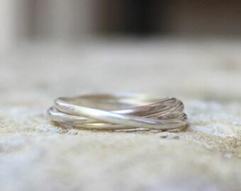 Three Band Rolling Ring - Russian Wedding Ring - Interlocking Puzzle Ring