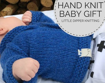 Hand Knit Baby Sweater, Baby Coming Home Outfit, Knit Baby Jacket, Newborn Boy Sweater, Blue Handknit Baby Sweater, Baby Outfit, Family Pics