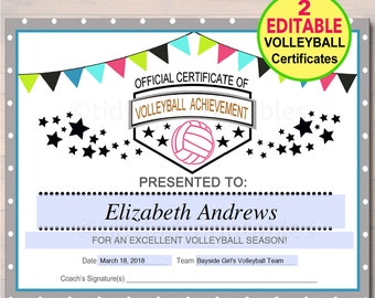 Certificates etsy editable volleyball certificates instant download volleyball award printable girls volleyball team participation awards sports yelopaper Image collections