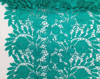 Spring Green Tulip Guipure French Venice lace