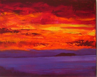 Burning desire 16x20  Acrylic abstract landscape painting on canvas