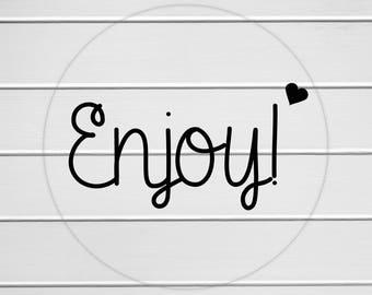 Enjoy Heart Sticker, Enjoy Labels, Clear Stickers, Transparent Enjoy Stickers (#139-C)