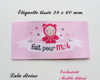 Woven label - made for me - 28 x 60 mm, pink doll