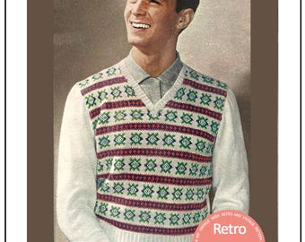 1950s Fair Isle Pullover Vintage Knitting Pattern - PDF Instant Download - PDF Knitting Pattern