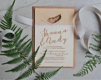 Wood wedding invitation - Timber wedding invitation - Feather Design  - boho wedding - Pack of 10