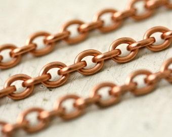 Copper Small Oval Chain, 4mm x 5mm Pure Copper Cable Chain, Solid Copper Chain
