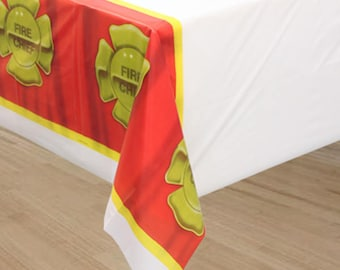 One 54 x 108 inch plastic Fireman Party Table Cover - Firefighter Theme - Fireman - Firefighter Birthday Party Tablecloth