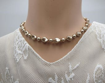 Pearl Necklace, Unique Swarovski Bronze Pearl Ladies Fashion , In Style Gorgeous Classic Stylish Fashion Necklace, Birthday Gift for Wife