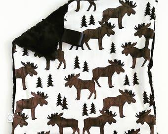 Woodland Moose Lovey, Neutral Lovey, Minky Lovey, Faux Fur Lovey, Woodland Lovey, Moose Lovey, Pine Tree Lovey, Brown Lovey