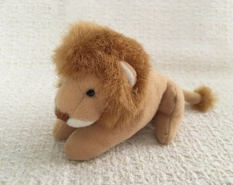 """Lion Plush, Brown Lion with Mane Stuffed Animal, Small Lion Plush, 1998, Discovery Communications, Holiday Inn, Bestever Inc, 5.5"""" Long"""