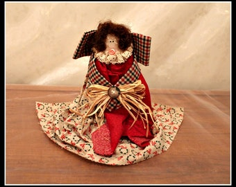 Country Folk Art Wooden Angel Doll, Rustic Wooden Fabric Ribbon and Lace Angel, Red & Green Holiday Angel, Primitive Angel, Christmas Angel