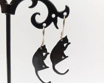 Cats earrings, shrink plastic, cat lovers gift, delicate earrings, cats earrings, cute earrings, black earrings, Polyshrink