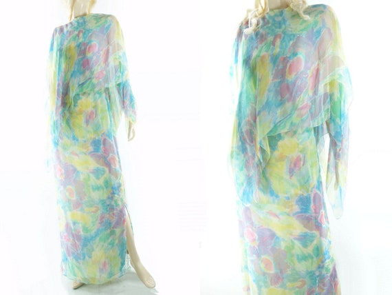 Paris Silk Dress Maxi m 60s de Rare Hostess Watercolor Stunning Dress Maxims Medium Dress Silk 60s Vintage Vintage Dress Vintage wZxBw