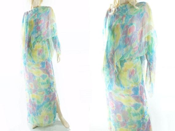 Paris Silk Dress Maxi m 60s de Rare Hostess Watercolor Stunning Dress Maxims Medium Dress Silk 60s Vintage Vintage Dress Vintage wZxBw