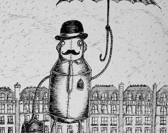 A Gentleman Always Carries an Umbrella- A3 robot art print by Jon Turner- cute geeky artwork- FREE WORLDWIDE SHIPPING