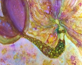 Mermaid Art Print, Alcohol Ink Art, Abstract Art, Fantasy Art, Alcohol InkPurple, Yellow, Green, Home Decor, Wall Art, Mermaid, Art, 11x14