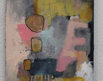 "Contemporary Abstract in soft colors 12 x 16   on cradled wood  ""One Love""  Original by artist and author Jodi Ohl"
