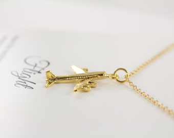 Airplane Necklace Gold, Jewelry for Pilot, Flight Attendant Gift, 18k Gold Filled Jewelry