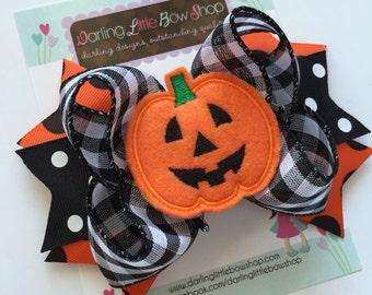 Halloween Bow -- Jack O Lantern Bow -- orange and black ribbons with large pumpkin center -- optional headband