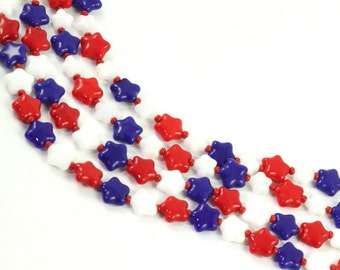 4th of July Lanyard White Red Blue Stars Patriotic Beaded Badge Holder Labor Day ID Badge USA Americana Memorial Day Veterans Day ID Leash