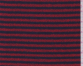 Bright Red/Navy Stripe Boucle, Fabric By The Yard